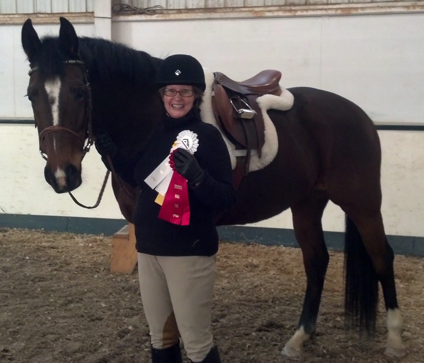 Hanora and Verilee with their first ribbons together in 2013.